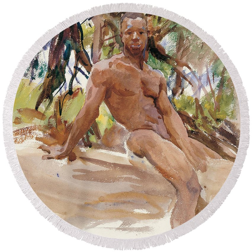 John Singer Sargent Round Beach Towel featuring the painting Man And Trees. Florida by John Singer Sargent