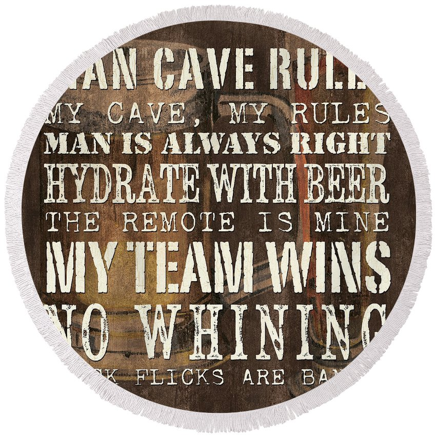 Man Round Beach Towel featuring the painting Man Cave Rules Square by Debbie DeWitt