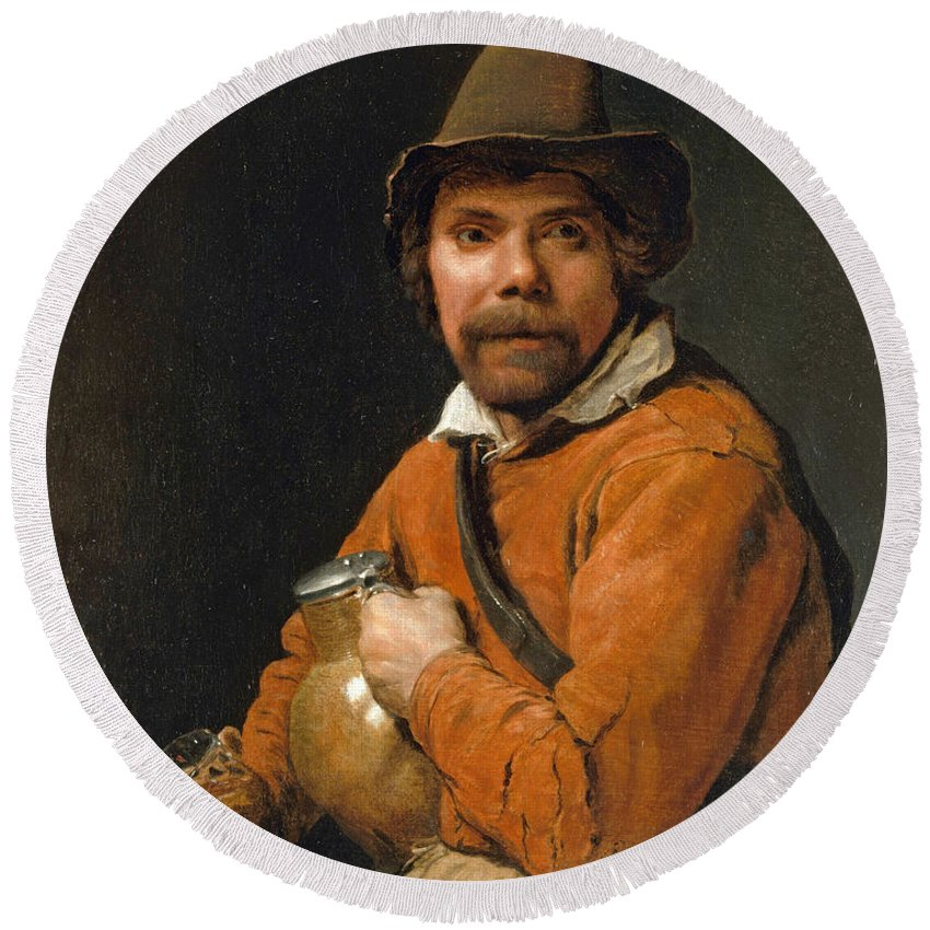 Michiel Sweerts Round Beach Towel featuring the painting Man Holding A Jug by Michiel Sweerts