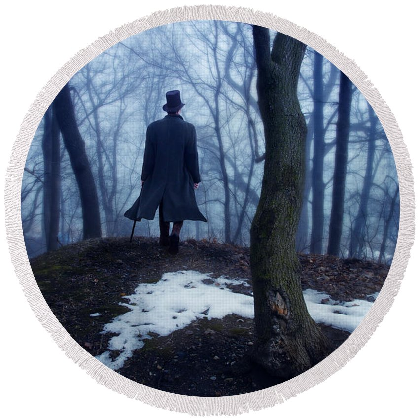 Young Round Beach Towel featuring the photograph Man In Top Hat Walking Through Foggy Woods by Jill Battaglia