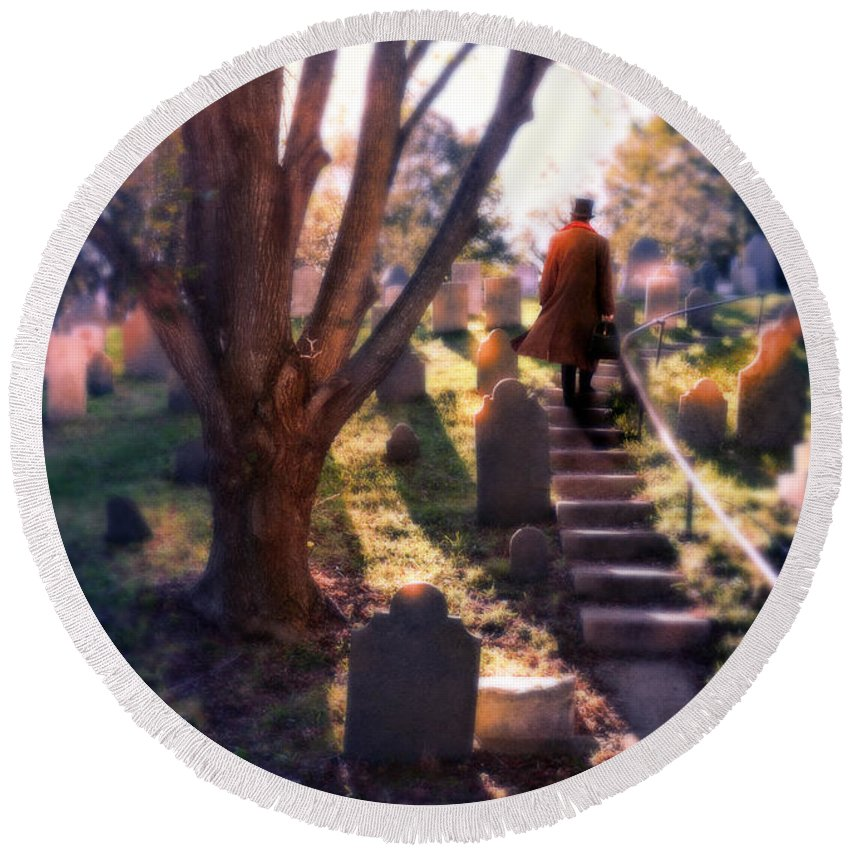 Young Round Beach Towel featuring the photograph Man On Cemetery Steps by Jill Battaglia