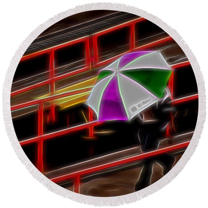 Rain Round Beach Towel featuring the photograph Man Under Umbrella by Maria Coulson