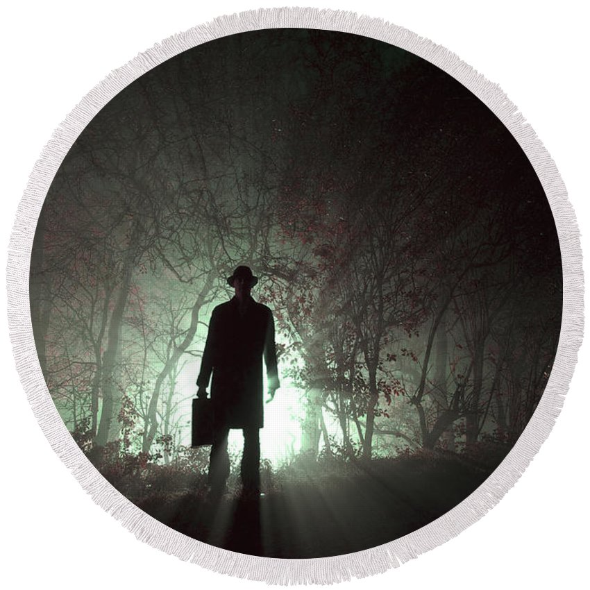 Man Round Beach Towel featuring the photograph Man Waiting In Fog With Case by Lee Avison