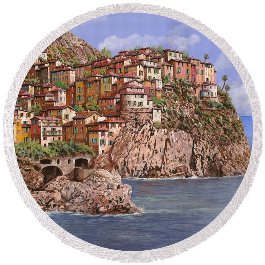 Seascape Round Beach Towel featuring the painting Manarola  by Guido Borelli