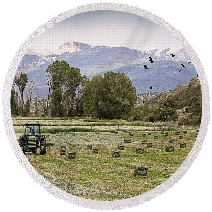 Agriculture Round Beach Towel featuring the photograph Mancos Colorado Landscape by Janice Pariza