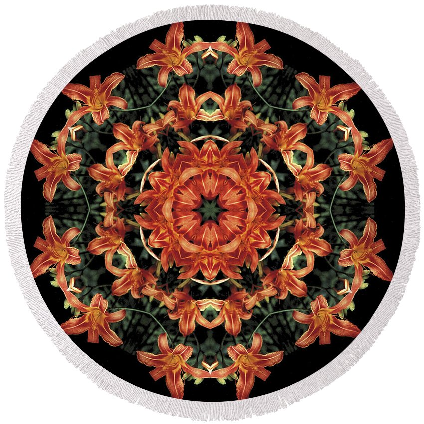 Mandala Round Beach Towel featuring the photograph Mandala Daylily by Nancy Griswold