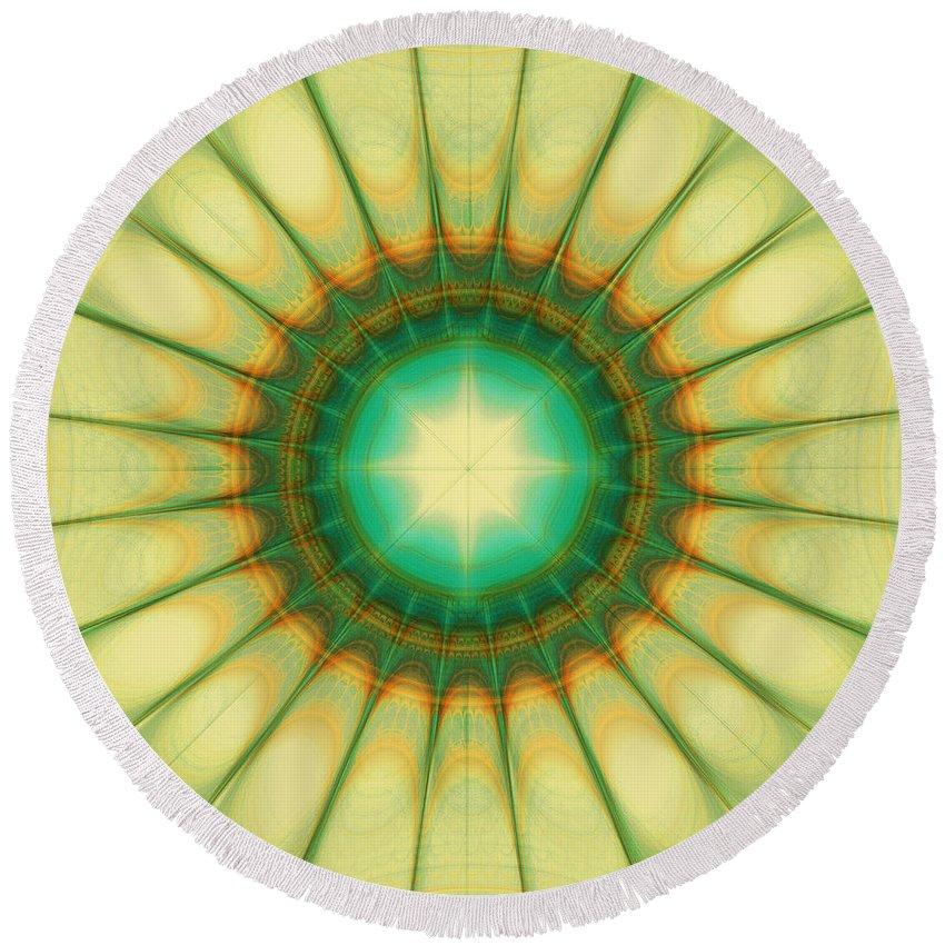 Hope Round Beach Towel featuring the digital art Mandala Of The Hope by Klara Acel