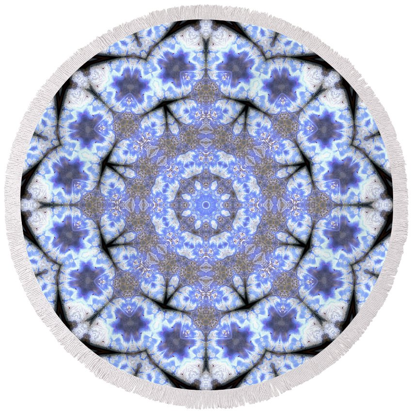 Round Beach Towel featuring the photograph Mandala101 by Lee Santa