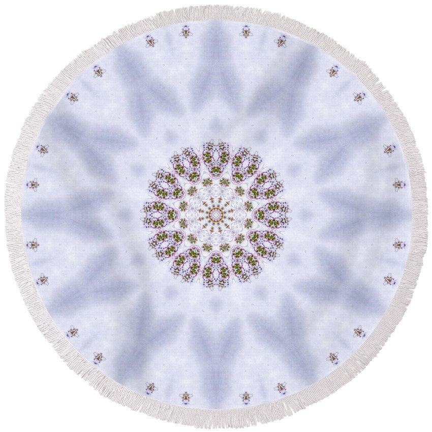 Round Beach Towel featuring the photograph Mandala105 by Lee Santa