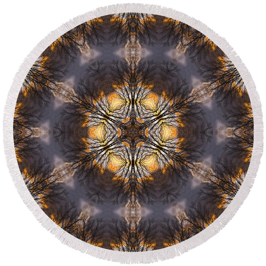 Round Beach Towel featuring the photograph Mandala87 by Lee Santa
