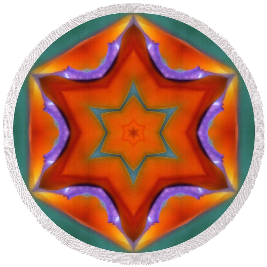 Round Beach Towel featuring the photograph Mandala91 by Lee Santa