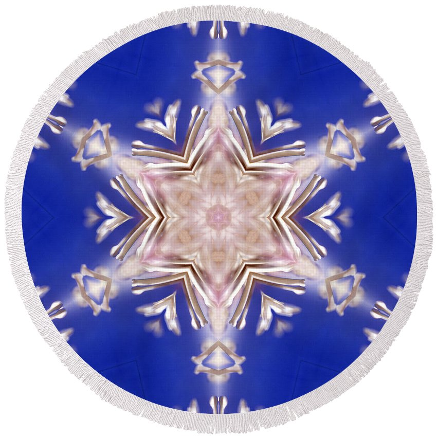 Round Beach Towel featuring the photograph Mandala93 by Lee Santa