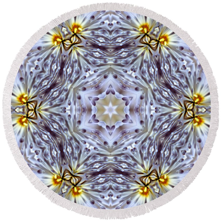 Round Beach Towel featuring the photograph Mandala94 by Lee Santa