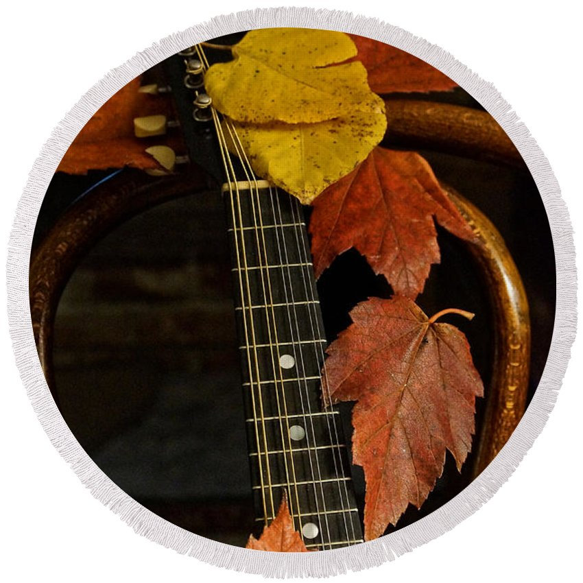 Mandolin Round Beach Towel featuring the photograph Mandolin Autumn 1 by Mick Anderson