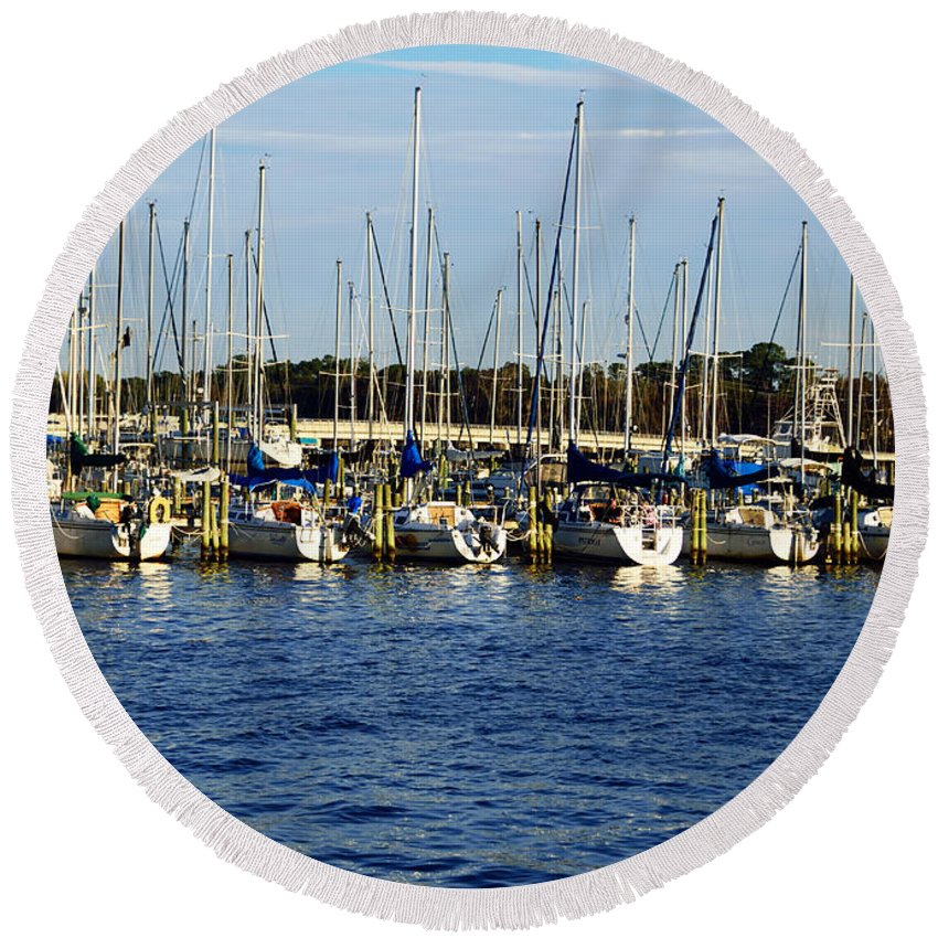 Mandarin Park Round Beach Towel featuring the photograph Mandarin Park Boats On Julington Creek by Spencer Studios