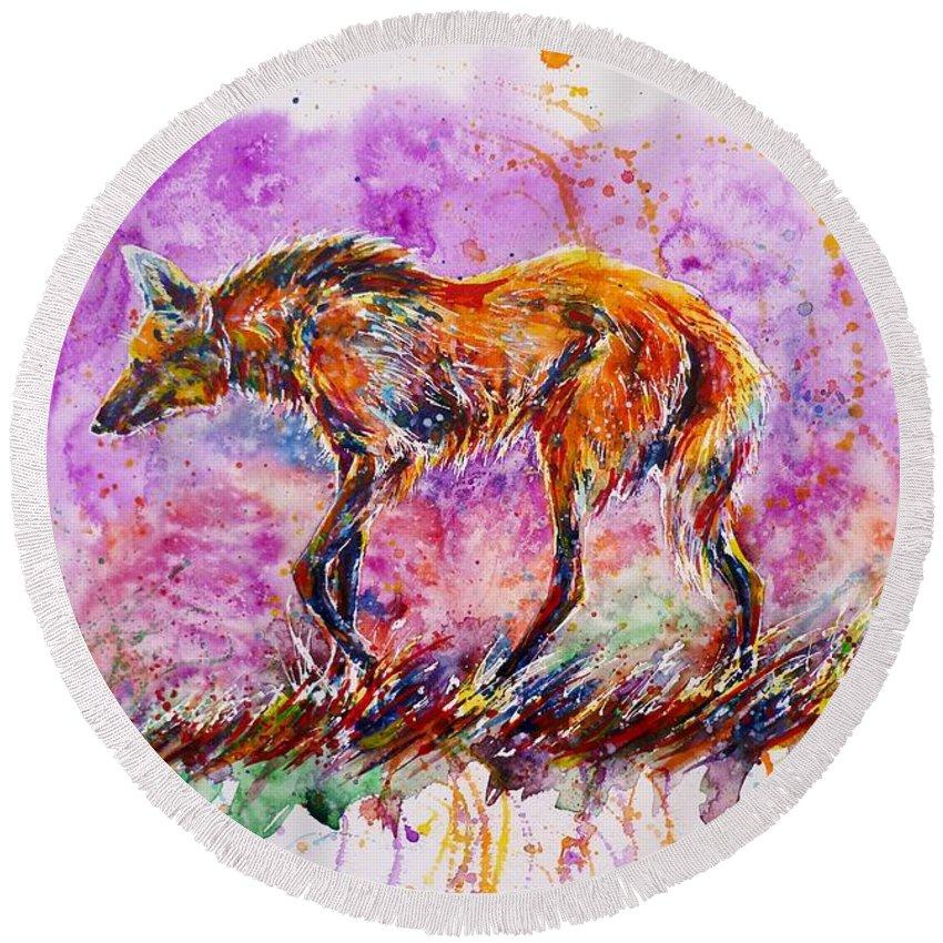 Maned Wolf Round Beach Towel featuring the painting Maned Wolf by Zaira Dzhaubaeva