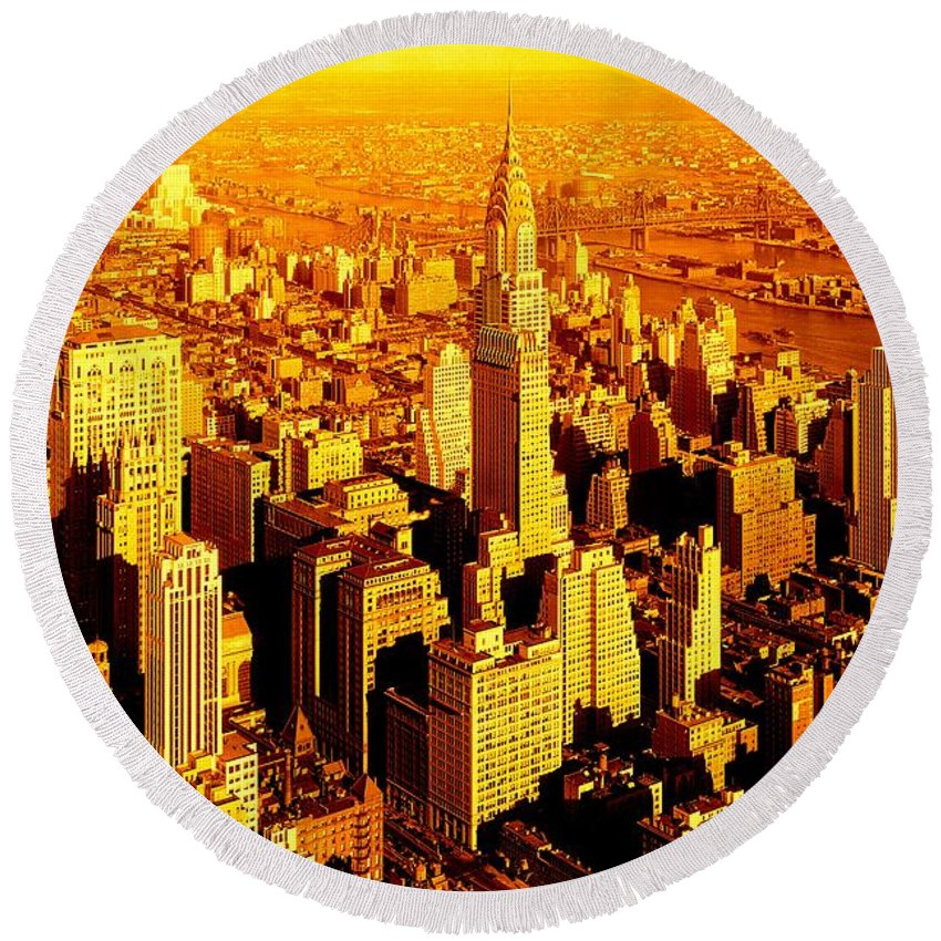 Fine Art America Round Beach Towel featuring the photograph Manhattan And Chrysler Building by Monique's Fine Art