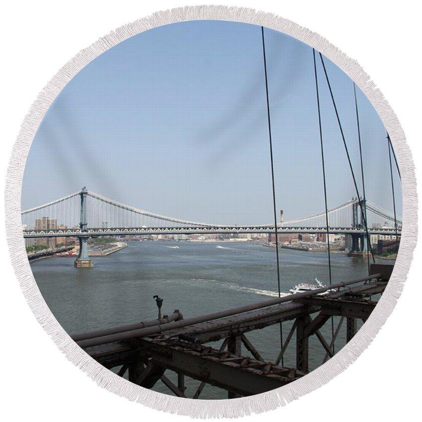 Manhattan Bridge Round Beach Towel featuring the photograph Manhattan Bridge by Christiane Schulze Art And Photography