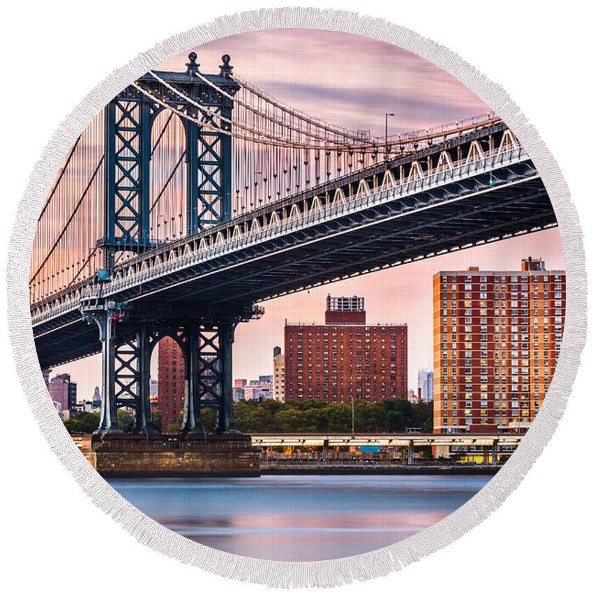 America Round Beach Towel featuring the photograph Manhattan Bridge Under A Purple Sunset by Mihai Andritoiu