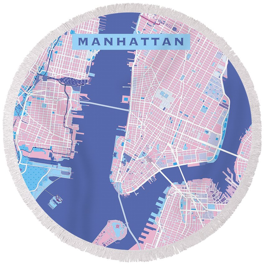 Decorative Round Beach Towel featuring the painting Manhattan Map Graphic by Gary Grayson