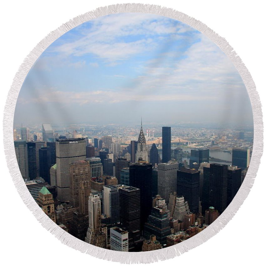 New York Round Beach Towel featuring the photograph Manhattan Overview by Christiane Schulze Art And Photography