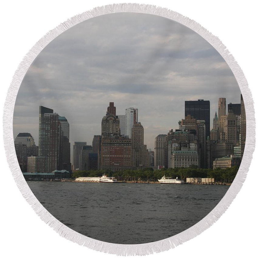 New York City Round Beach Towel featuring the photograph Manhattan Skyline 2010 by Christiane Schulze Art And Photography