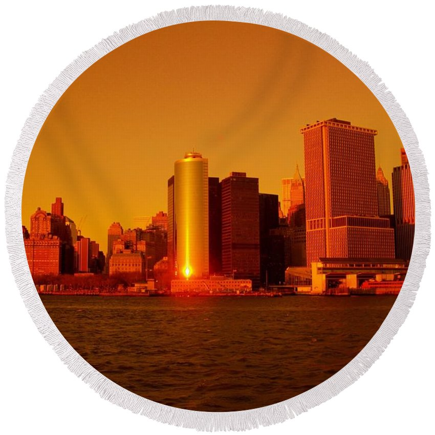 Manhattan Skyline Prints Round Beach Towel featuring the photograph Manhattan Skyline At Sunset by Monique's Fine Art
