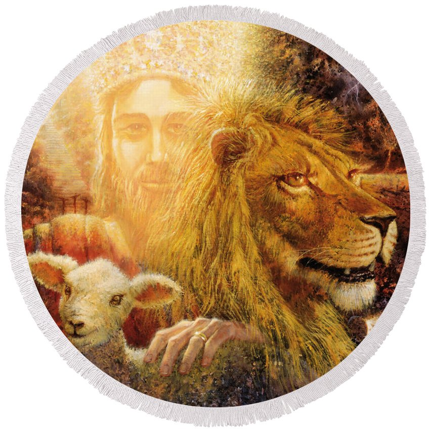 Biblical Round Beach Towel featuring the painting Manifold Majesty by Graham Braddock