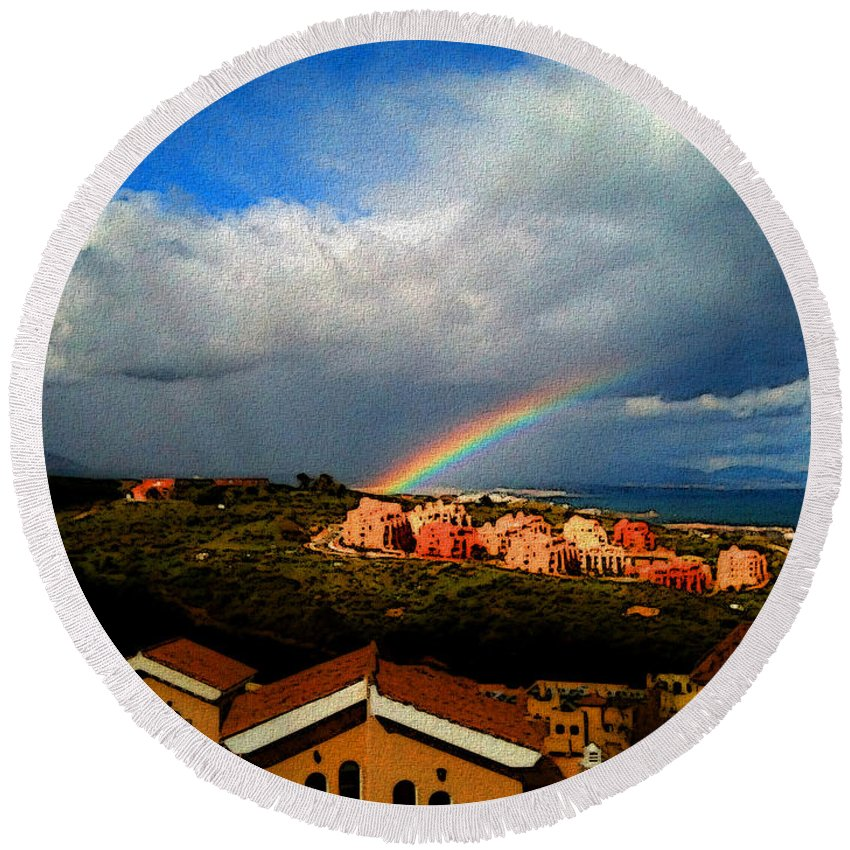 Manilva Round Beach Towel featuring the photograph Spanish Landscape Rainbow And Ocean View by Carlos Tello