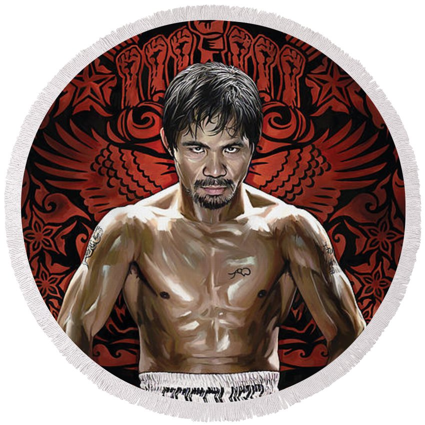Manny Pacquiao Paintings Round Beach Towel featuring the painting Manny Pacquiao Artwork 1 by Sheraz A
