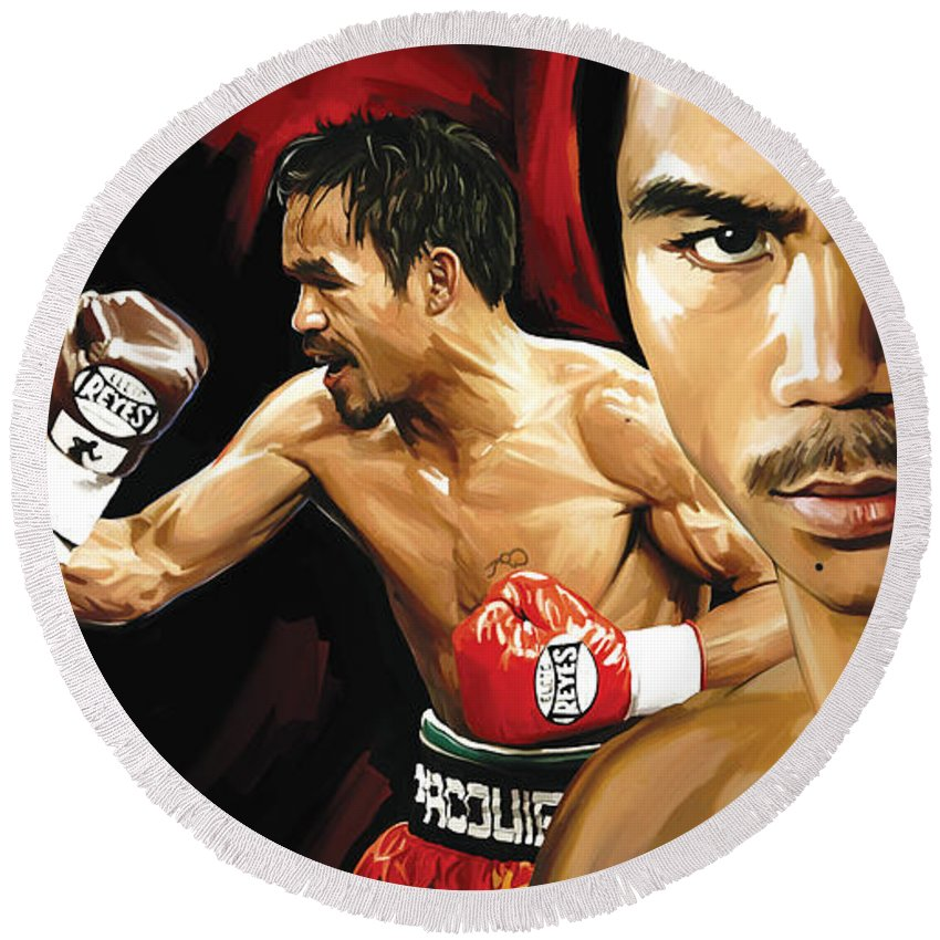 Manny Pacquiao Paintings Round Beach Towel featuring the painting Manny Pacquiao Artwork 2 by Sheraz A
