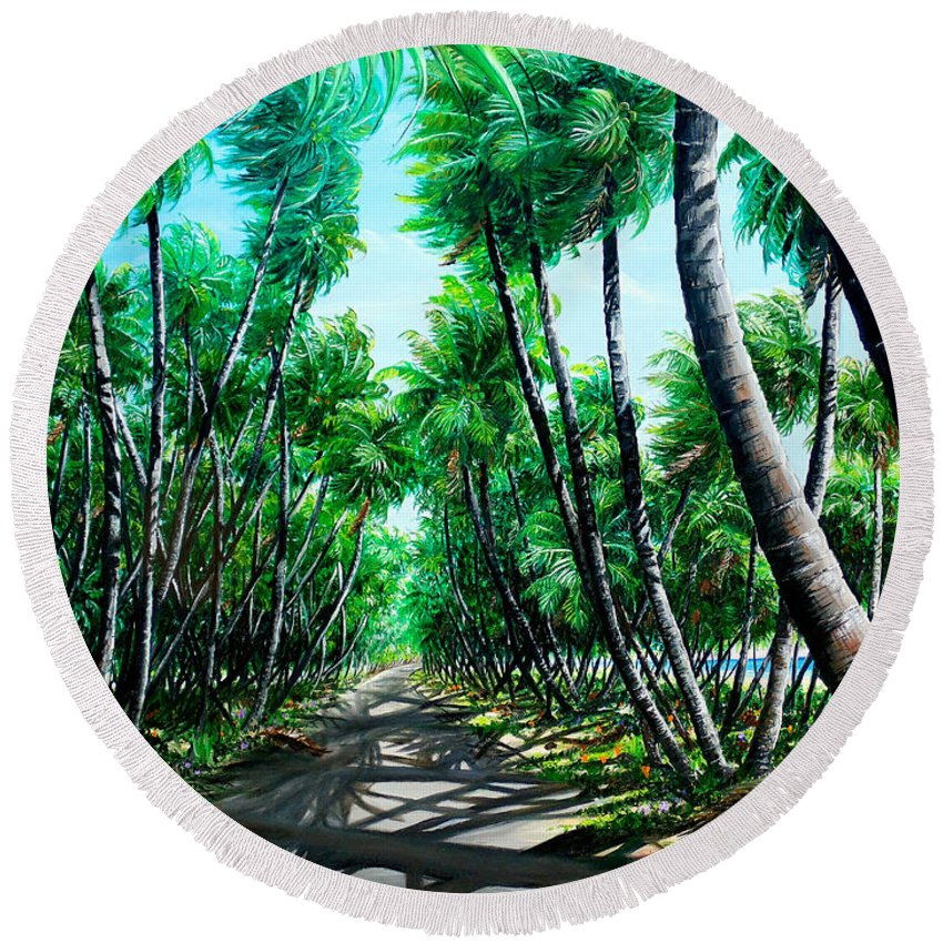 Coconut Trees Round Beach Towel featuring the painting Manzanilla Coconut Estate by Karin Dawn Kelshall- Best