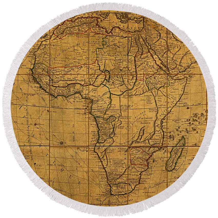 Map Of Africa Round Beach Towel featuring the mixed media Map Of Africa Circa 1829 On Worn Canvas by Design Turnpike
