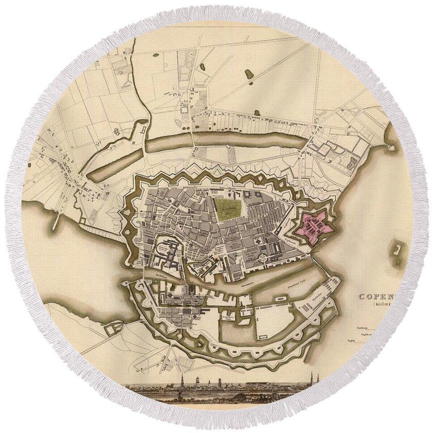 Copenhagen Round Beach Towel featuring the photograph Map Of Copenhagen 1837 by Andrew Fare