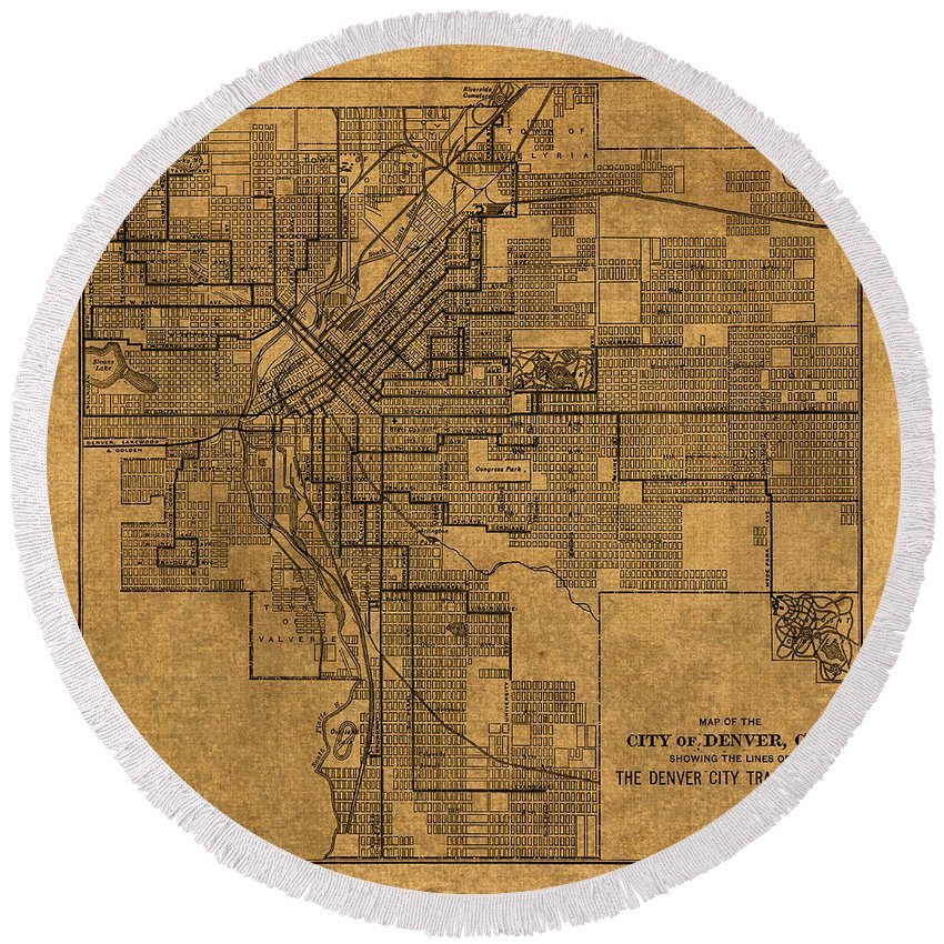 Map Round Beach Towel featuring the mixed media Map Of Denver Colorado City Street Railroad Schematic Cartography Circa 1903 On Worn Canvas by Design Turnpike