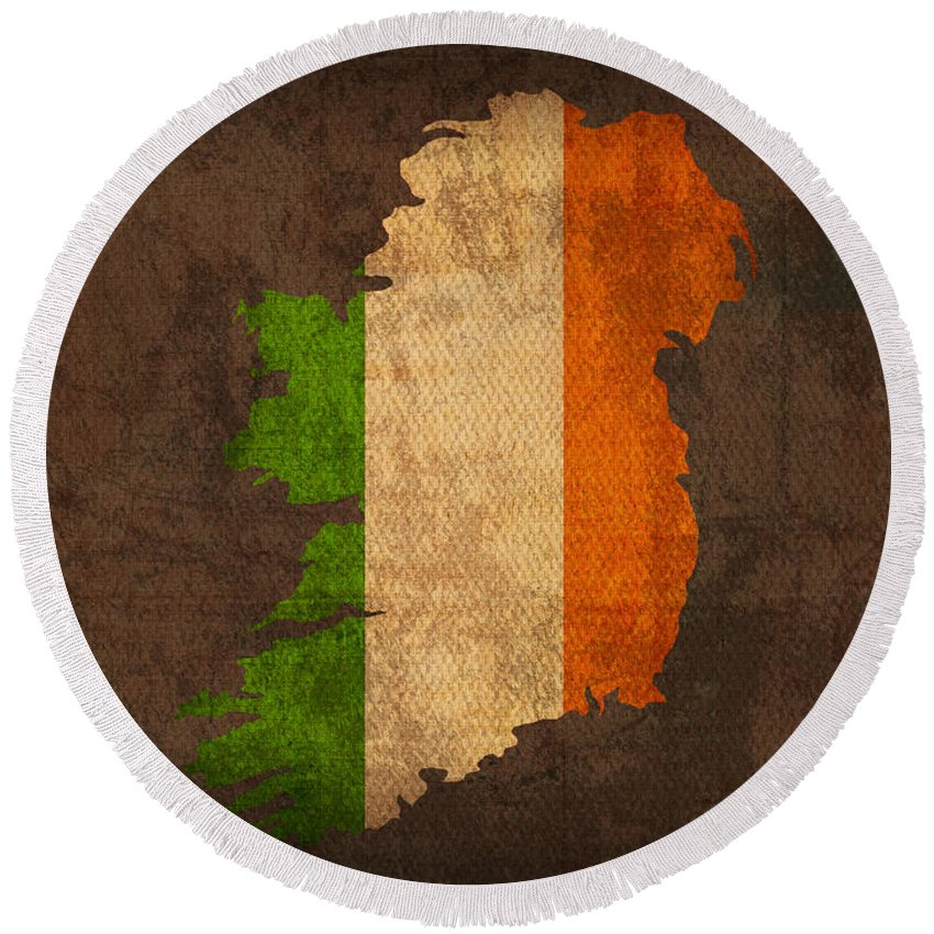 Map Of Ireland With Flag Art On Distressed Worn Canvas Round Beach Towel featuring the mixed media Map Of Ireland With Flag Art On Distressed Worn Canvas by Design Turnpike
