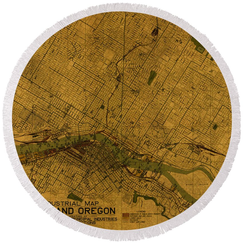 Map Of Portland Round Beach Towel featuring the mixed media Map Of Portland Oregon City Street Schematic Cartography Circa 1924 On Worn Parchment by Design Turnpike