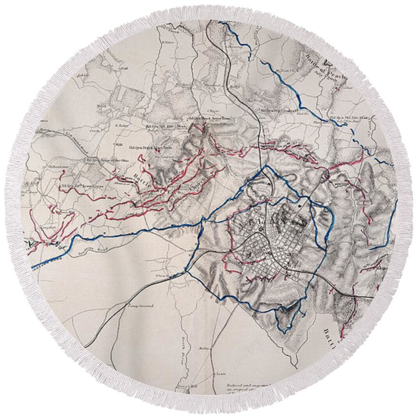 1864 Round Beach Towel featuring the photograph Map: Siege Of Atlanta 1864 by Granger