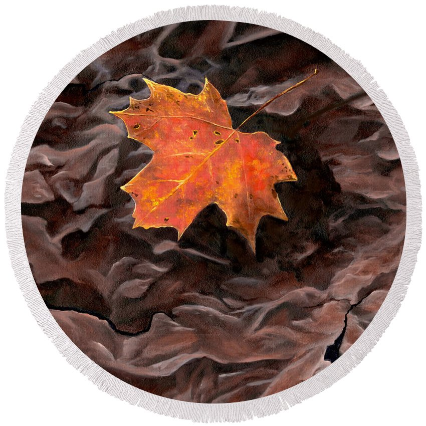 Leaf Round Beach Towel featuring the painting Maple by Christopher Lyter