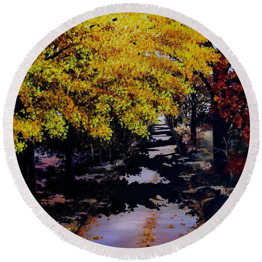 Maple Trees Round Beach Towel featuring the painting Maple Lane by Karin Dawn Kelshall- Best