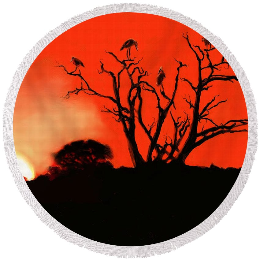 Landscape Round Beach Towel featuring the painting Marabou Tree by Scott Bowlinger