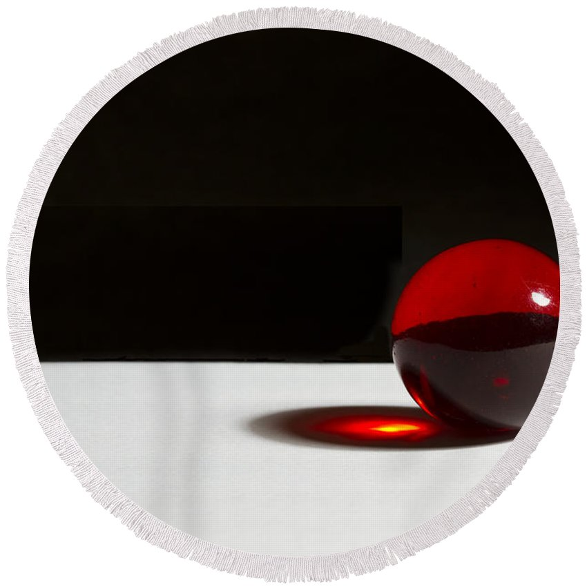 Glass Round Beach Towel featuring the photograph Marble Red 1 A by John Brueske