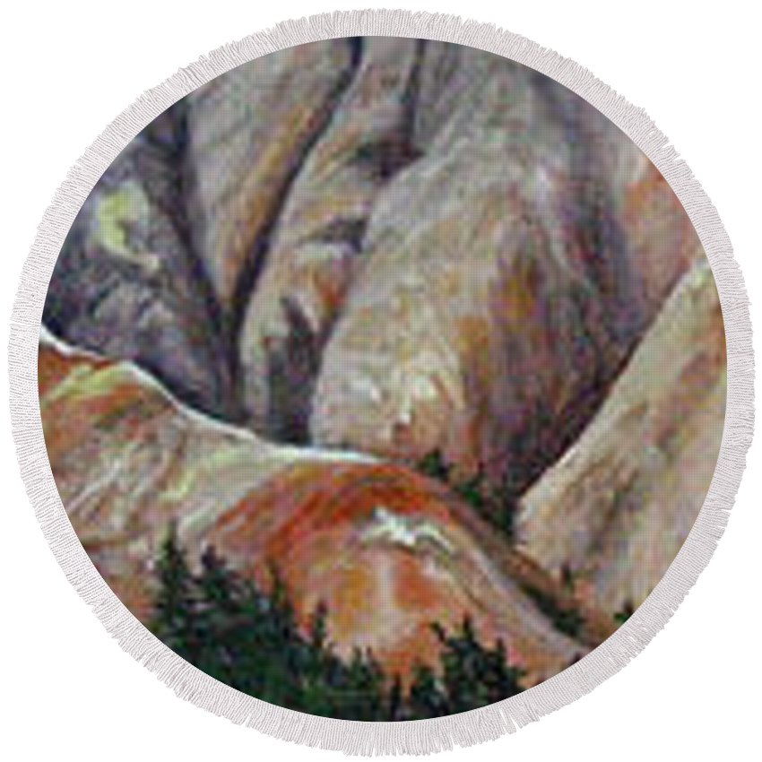 Mountains Round Beach Towel featuring the painting Marble Ridge by Elaine Booth-Kallweit