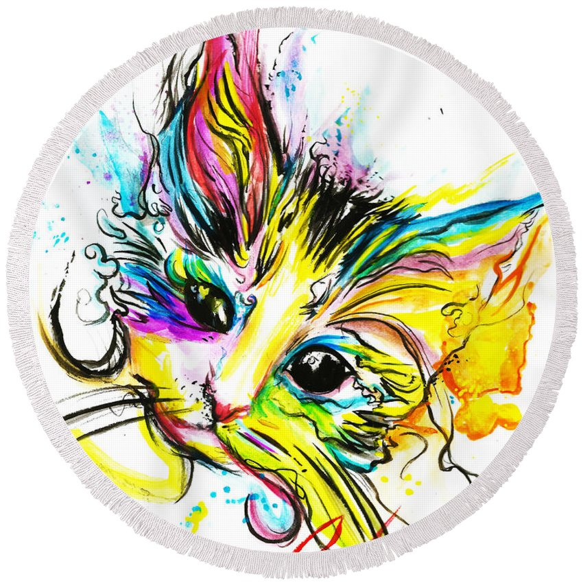 Cat Round Beach Towel featuring the painting Marble The Cat by Justin Coffman