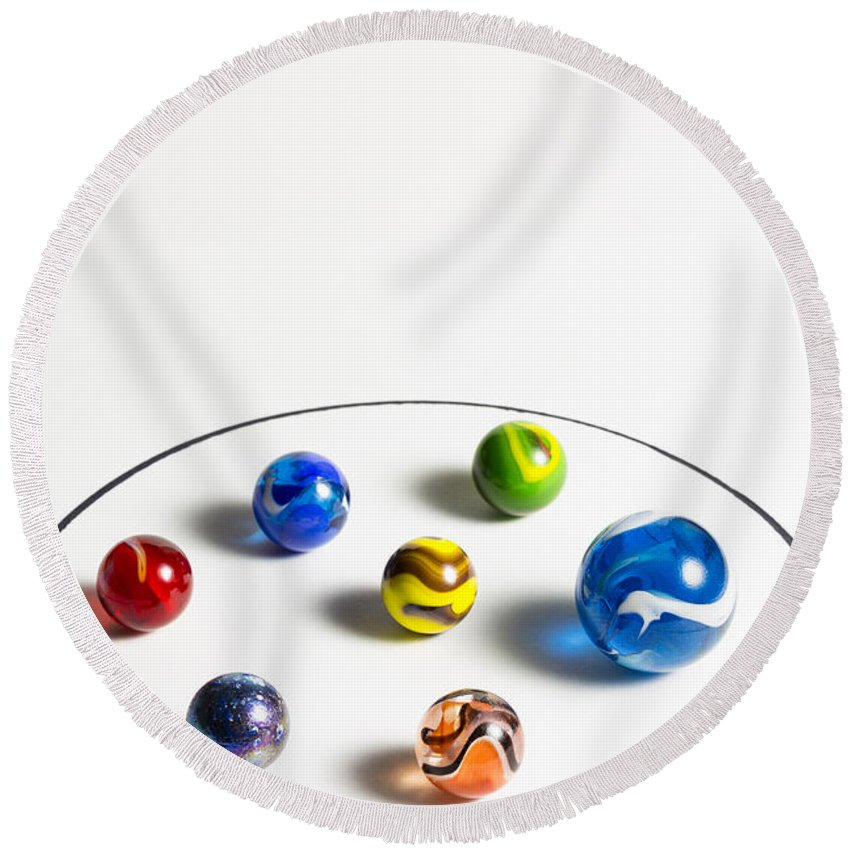 Glass Round Beach Towel featuring the photograph Marbles Circle 3 by John Brueske