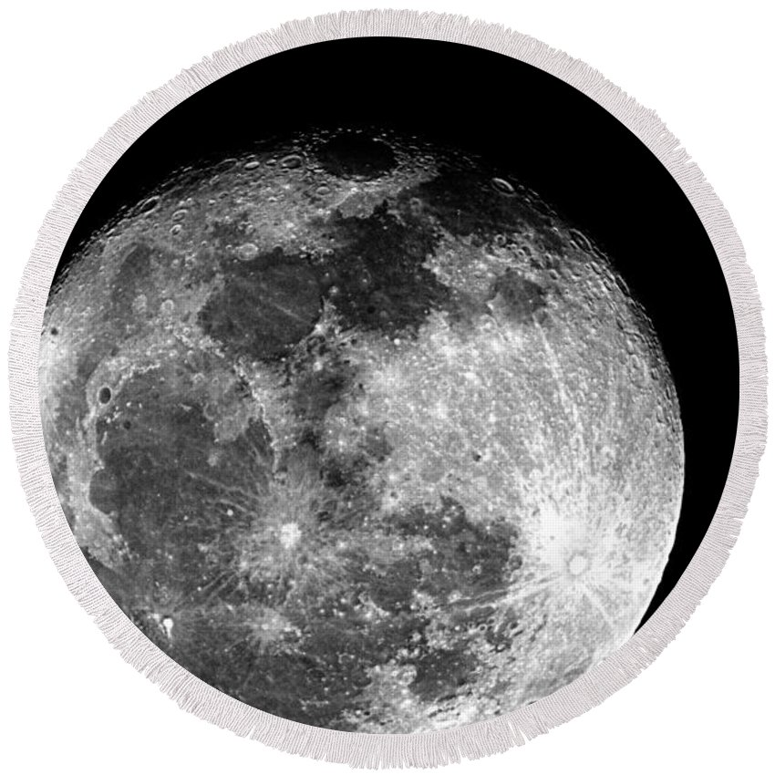 Moon Round Beach Towel featuring the photograph March Full Moon by Paul Wilford
