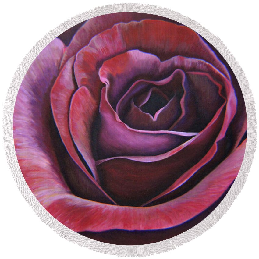 Rose Round Beach Towel featuring the painting March Rose by Thu Nguyen