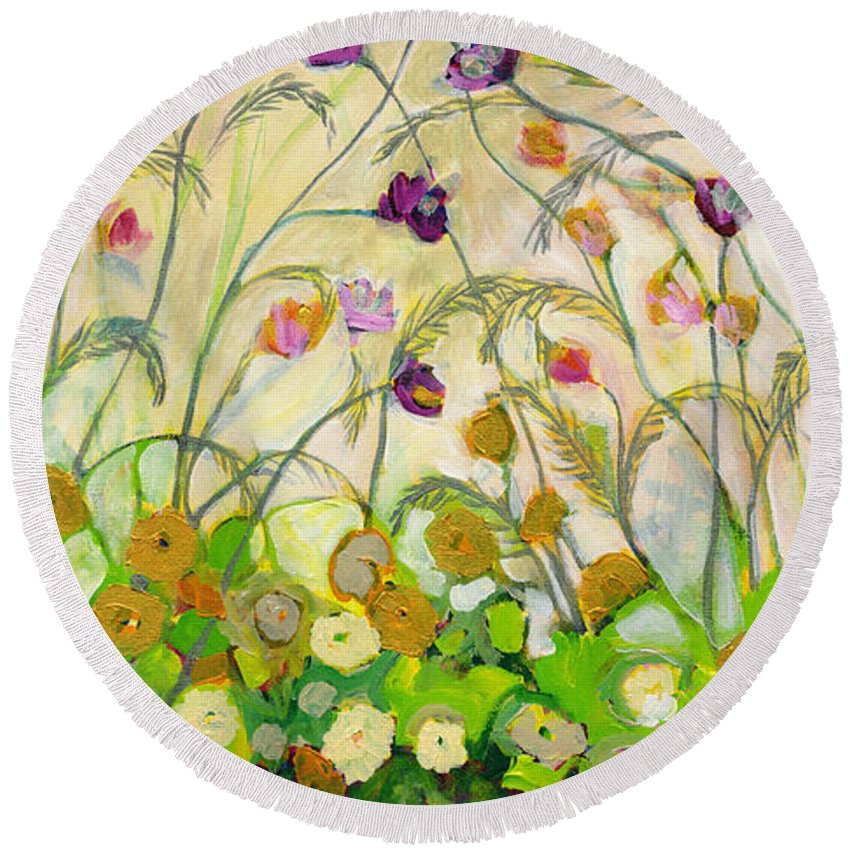 Landscape Round Beach Towel featuring the painting Mardi Gras by Jennifer Lommers