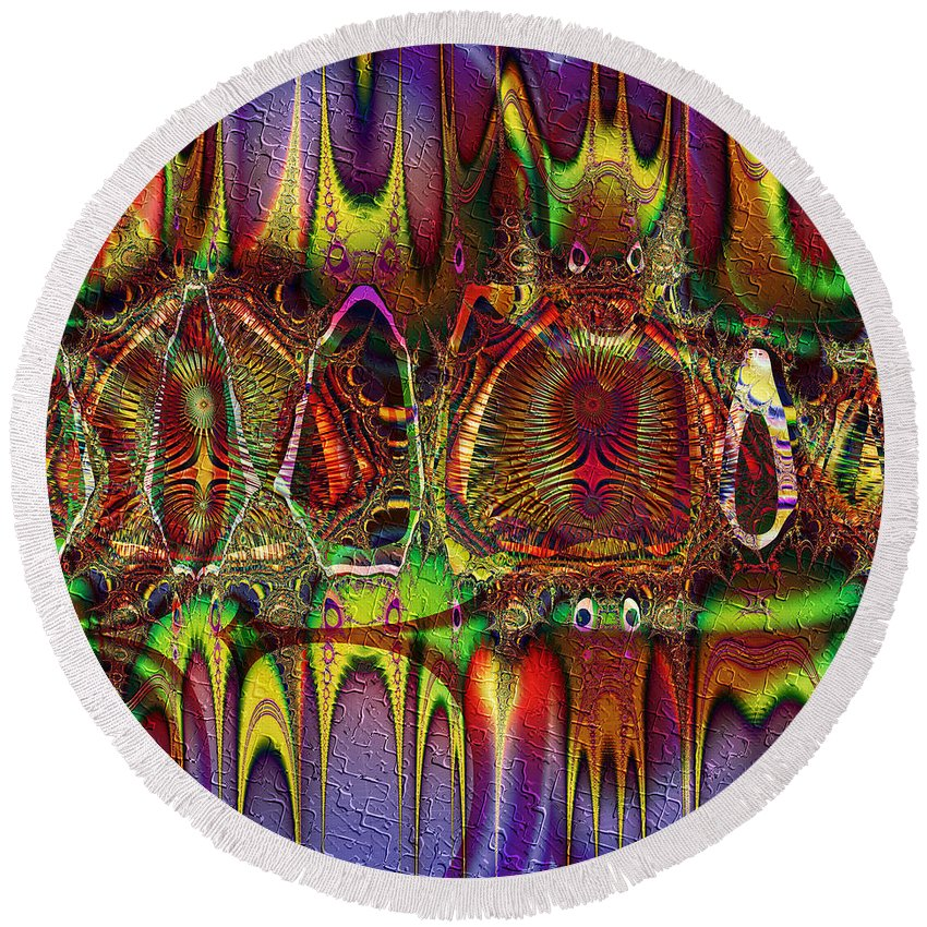 Mardi Gras Round Beach Towel featuring the digital art Mardi Gras by Kiki Art