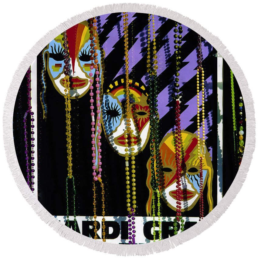 Poster Round Beach Towel featuring the photograph Mardi Gras Poster New Orleans by Mike Nellums